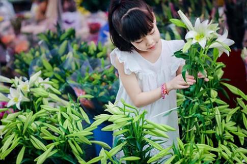 Bé gái Hà Thành dịu dàng tựa thiếu nữ trong mùa hoa loa kèn