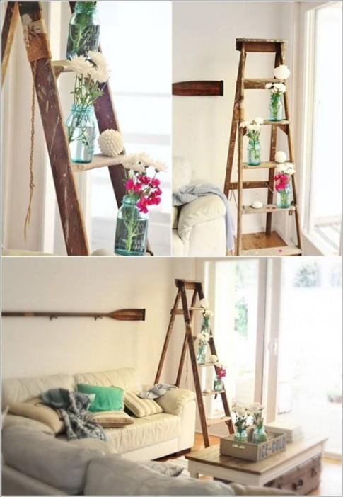 Biến thang gỗ thành đồ trang trí trong nhà