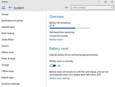 Cách tiết kiệm pin laptop chạy Windows 10 hiệu quả