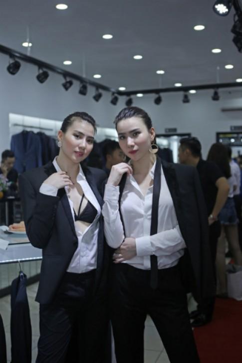 Cặp mẫu song sinh Huyền Thư, Thư Huyền gợi cảm với vest nam