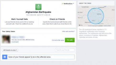 Facebook giúp xác minh số phận những người ở vùng động đất
