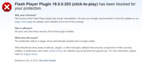 Firefox chặn Adobe Flash Player vì lỗi bảo mật nguy hiểm