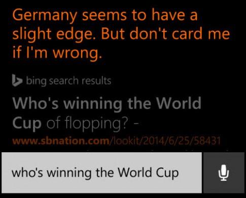 'Trợ lý ảo' Cortana dự đoán Đức vô định World Cup