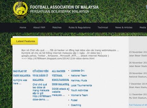 Website của Liên đoàn bóng đá Malaysia bị hacker kiểm soát