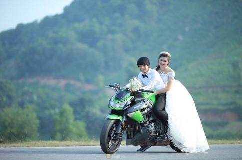 Bộ ảnh cưới đẹp như mơ của cặp đôi Thái Nguyên bên cạnh Kawasaki Z1000