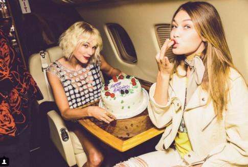 Gigi Hadid đón sinh nhật trên phi cơ của Taylor Swift