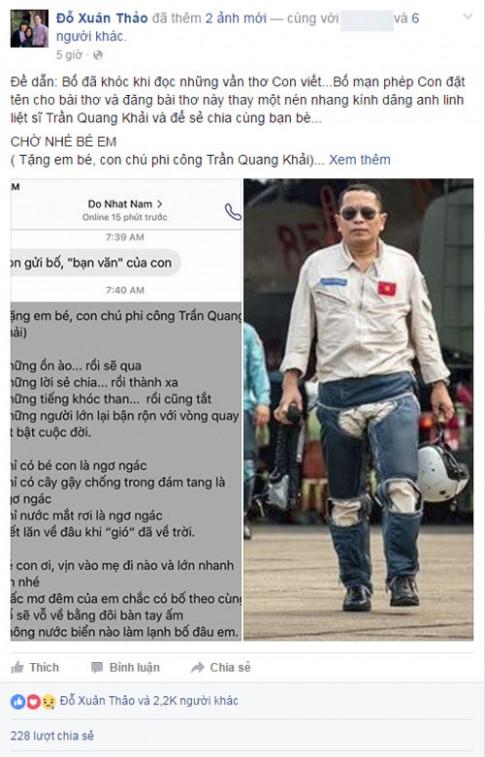 Bài thơ Đỗ Nhật Nam gửi tặng con gái phi công Trần Quang Khải làm ai cũng khóc