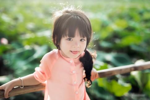 Bé 4 tuổi đẹp tinh khôi, ngọt mọng như búp sen trong sương sớm
