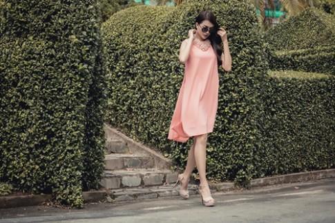 Diện váy suông xuống phố thời trang như á hậu Lệ Hằng