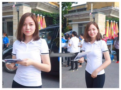 Nữ sinh dự thi ĐH Bách Khoa có nhan sắc tươi xinh