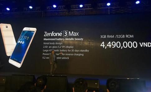 Zenfone 3 Max pin chờ 30 ngày, giá 4,5 triệu đồng
