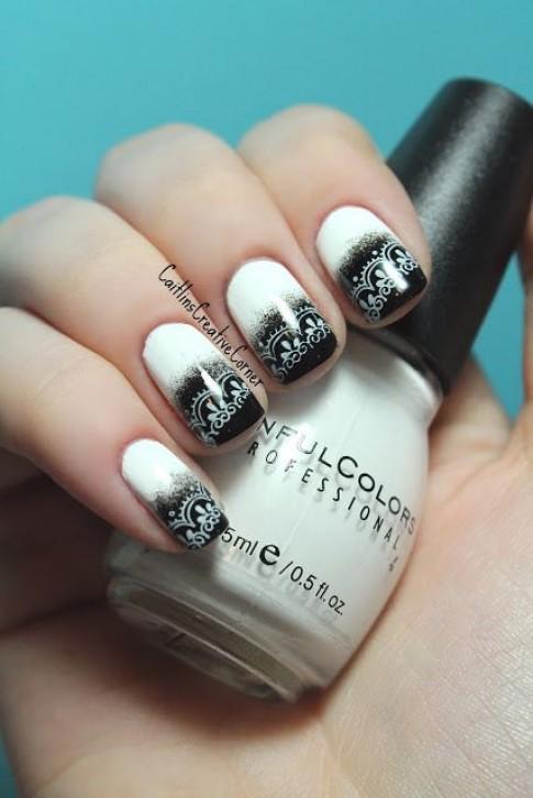 15 mẫu nail móng tay đen trắng đẹp 2016 cho bạn nữ trẻ trung