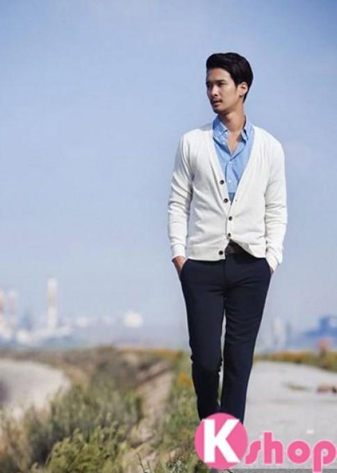 Áo khoác vest mỏng cardigan nam đẹp cá tính ấm áp dạo phố đông 2016 – 2017