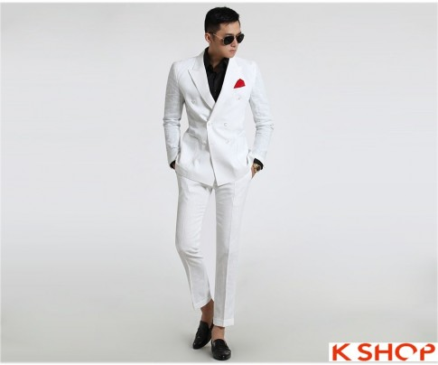 Áo vest nam trắng công sở đẹp Hàn Quốc ấm áp đông 2016 – 2017 lịch lãm