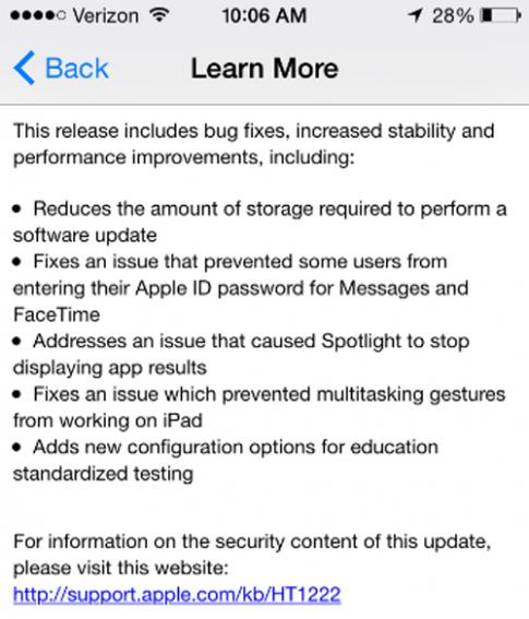 Apple tung iOS 8.1.3: Tăng bộ nhớ thiết bị