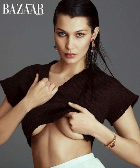 Bella Hadid hờ hững khoe ngực trên tạp chí Flare