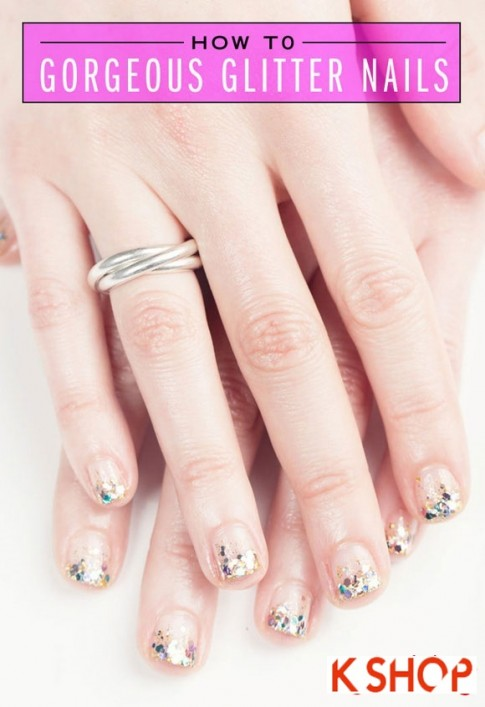 Cách vẽ 2 mẫu móng tay nail kim tuyến đẹp đơn giản xinh xắn cho bạn gái 2016
