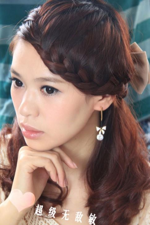 Kiểu tóc tết mái viền đẹp 2016 phong cách hàn quốc dễ thương