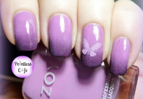 Mẫu nail móng tay màu tím đẹp 2016 thơ mộng cho bạn gái lãng mạn