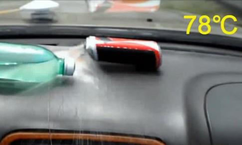 Nắng nóng có thể làm nổ lon nước trong cabin ôtô