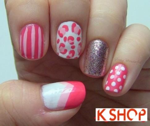 Vẽ móng tay nail màu hồng đẹp họa tiết đơn giản cho bạn gái 2016
