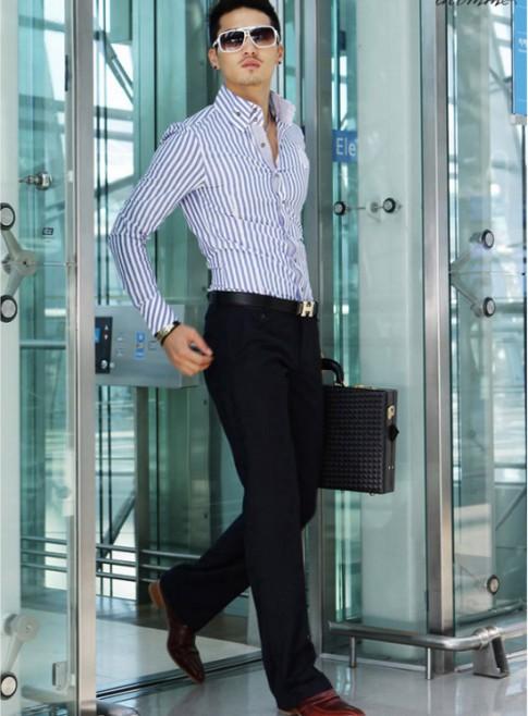 Áo sơ mi nam kẻ sọc đẹp cho chàng mạnh mẽ xu hướng thời trang hè 2017