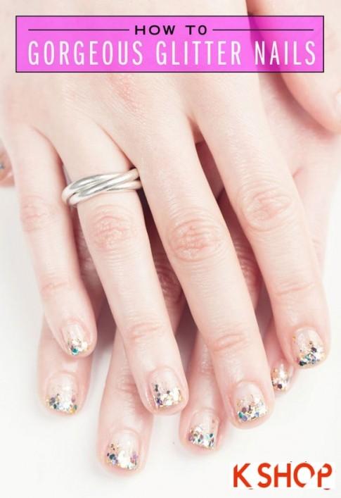 Cách vẽ 2 mẫu nail kim tuyến đẹp đơn giản xinh xắn cho bạn gái 2017