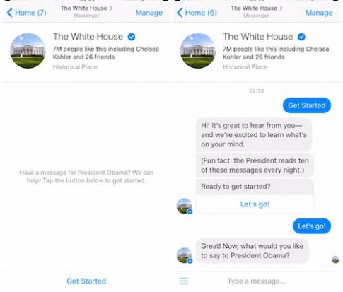 Gửi thư cho Tổng thống Obama thông qua Facebook Messenger