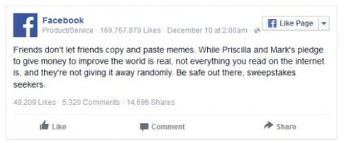 Trò bịp kêu gọi chia sẻ tuyên bố của Mark Zuckerberg