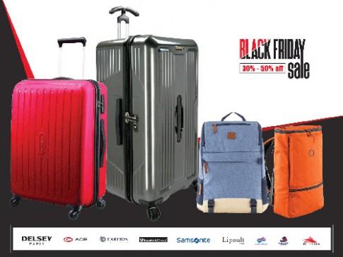 Black Friday cuồng nhiệt mua sắm vali, balo thương hiệu cao cấp.