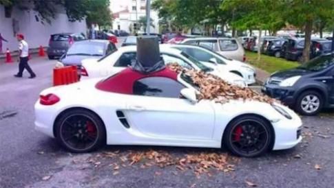 Đỗ chiếm chỗ, xe Porsche bị đổ cả thùng rác