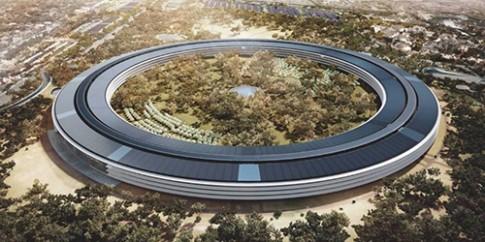 Tòa nhà Apple Campus 2 đang được lắp tấm năng lượng mặt trời