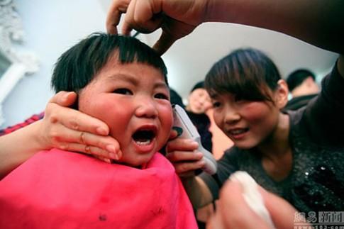 Chùm ảnh biểu cảm hài hước của trẻ khi được cắt tóc