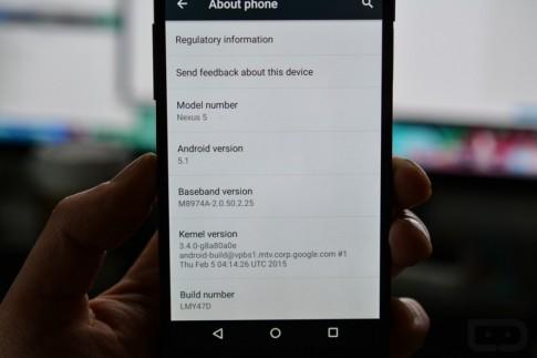 Google cập nhật Android 5.1 build LMY47O cho các thiết bị Nexus
