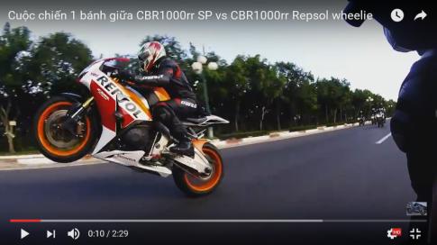 Cuộc chiến 1 bánh giữa CBR1000rr SP vs CBR1000rr Repsol wheelie