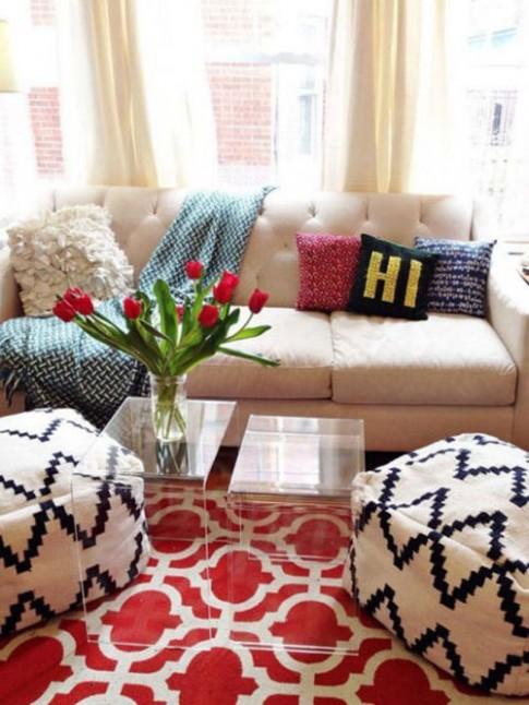 Mẹo bố trí ghế ngồi thoải mái trong phòng khách chật chội