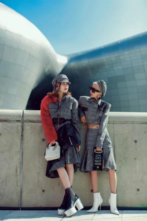Rũ bỏ hình ảnh 'cô Ba Sài Gòn', Ninh Dương Lan Ngọc cùng stylist Hoài Trang nổi bật giữa đường phố Seoul