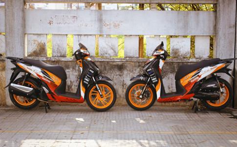 Cặp đôi Honda SH150 lên dàn áo Repsol ở Sài Gòn