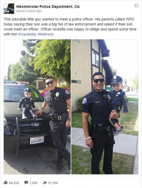 Bé 3 tuổi gốc Việt và anh cảnh sát đẹp trai bất ngờ gây sốt ở Mỹ
