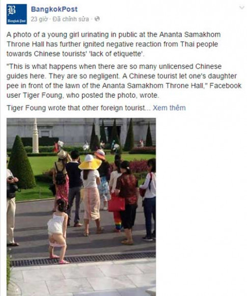 Người Thái phẫn nộ ảnh phụ huynh TQ cho con tè bậy ở bảo tàng