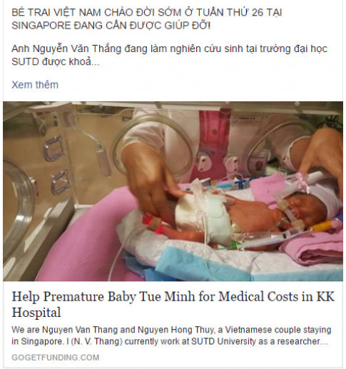 Bố Việt lên mạng cầu cứu 4 tỷ cứu con sinh non bất ngờ tại Singapore