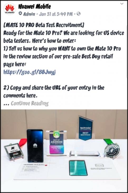 Huawei bị phát hiện tạo đánh giá giả cho Mate 10 Pro