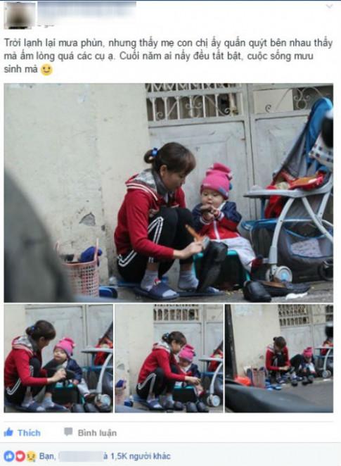 Nao lòng hình ảnh cậu bé 1 tuổi theo mẹ mưu sinh giữa trời lạnh buốt giá