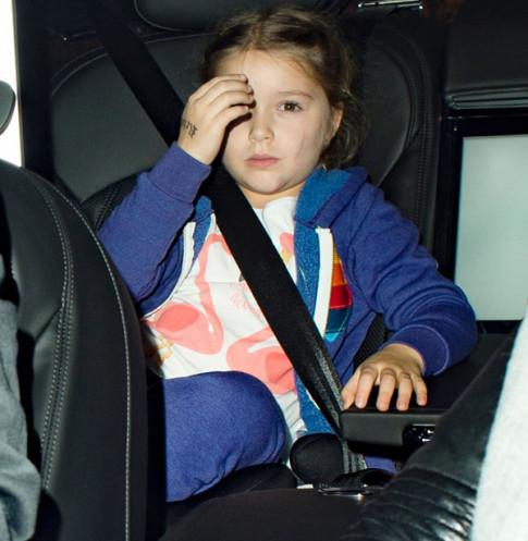 Nhóc Harper nhà Beckham lộ cằm bị tím bầm, xước má