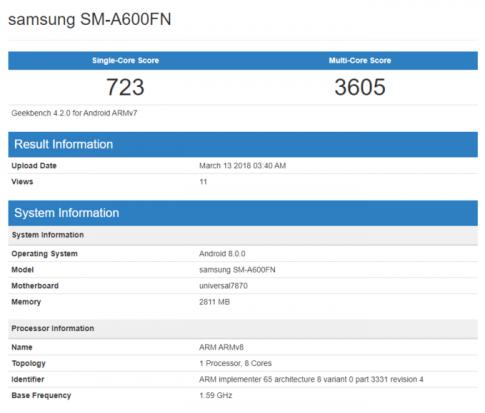 Samsung Galaxy A6 và A6 bất ngờ xuất hiện trên Geekbench