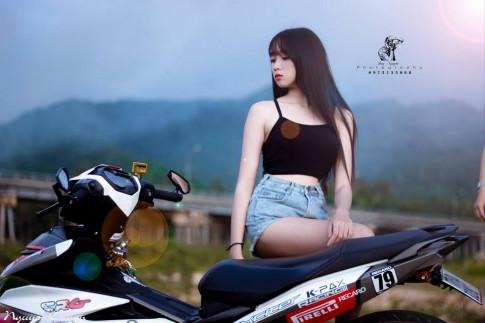 Bộ ảnh Exciter 150 độ đọ dáng cùng gái Bình Định xinh ngất ngây