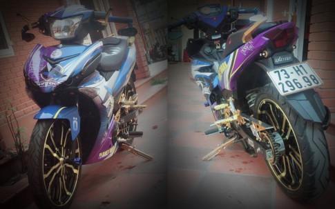 Exciter 150 do - chu ca map hung ton voi dan chan co bap cua biker Quang Binh